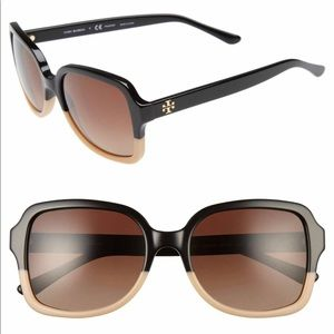Tory Burch 55mm Polarized Ombré Sunglasses T logo